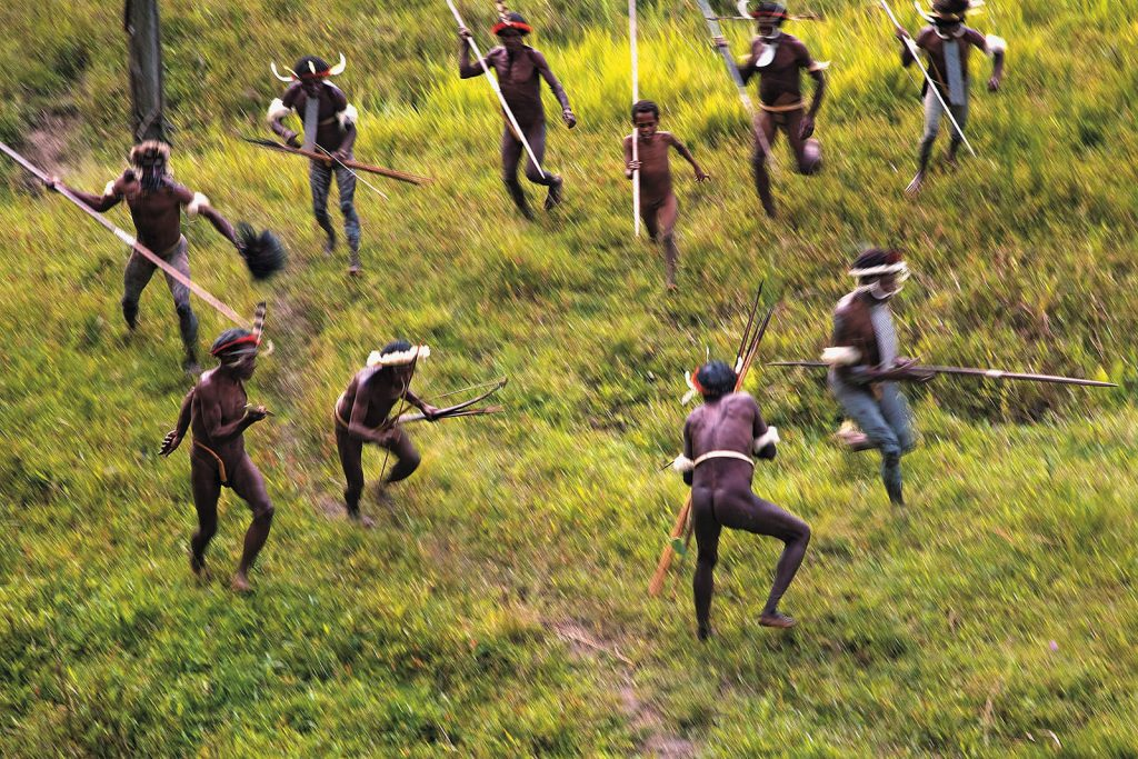 The Dani, one of the biggest and most developed highland tribes of New Guinea, had been fighting tribal wars all until 40 years ago. Today they do perform mock battles only for tourists.