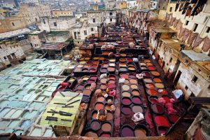 The production of leather hasn't changed much in half a millennium in some tanneries like this one in Fes, Morocco