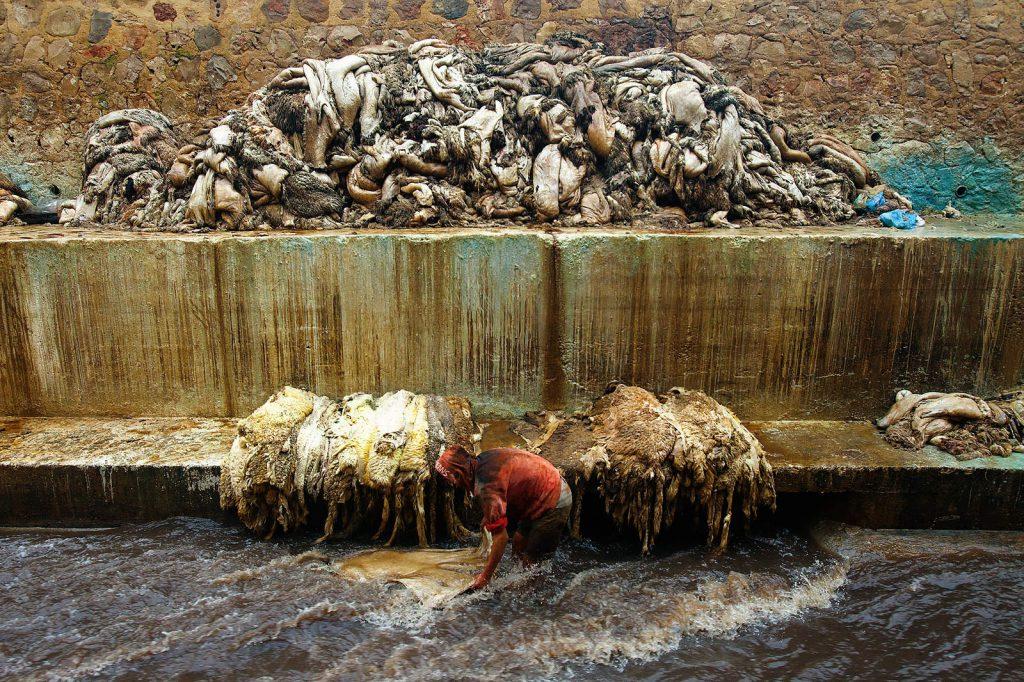 Kože se prvo ispiru u vodi.