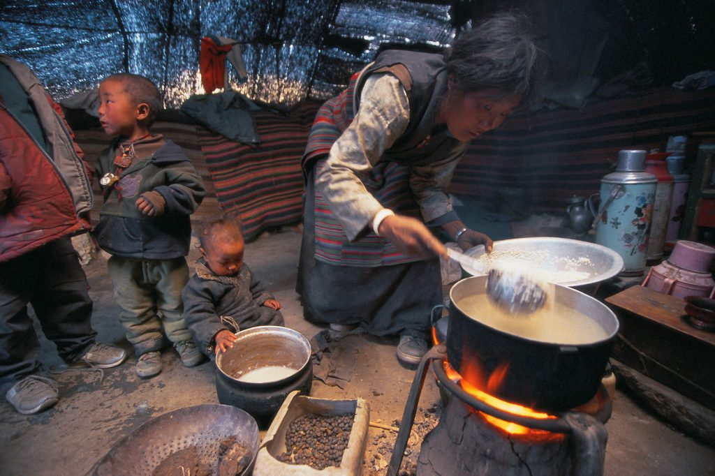 Out of about thirty villages where Lobas live a sedentary, agricultural life, a considerable part of the Mustang population is nomadic, yak and sheep herders.