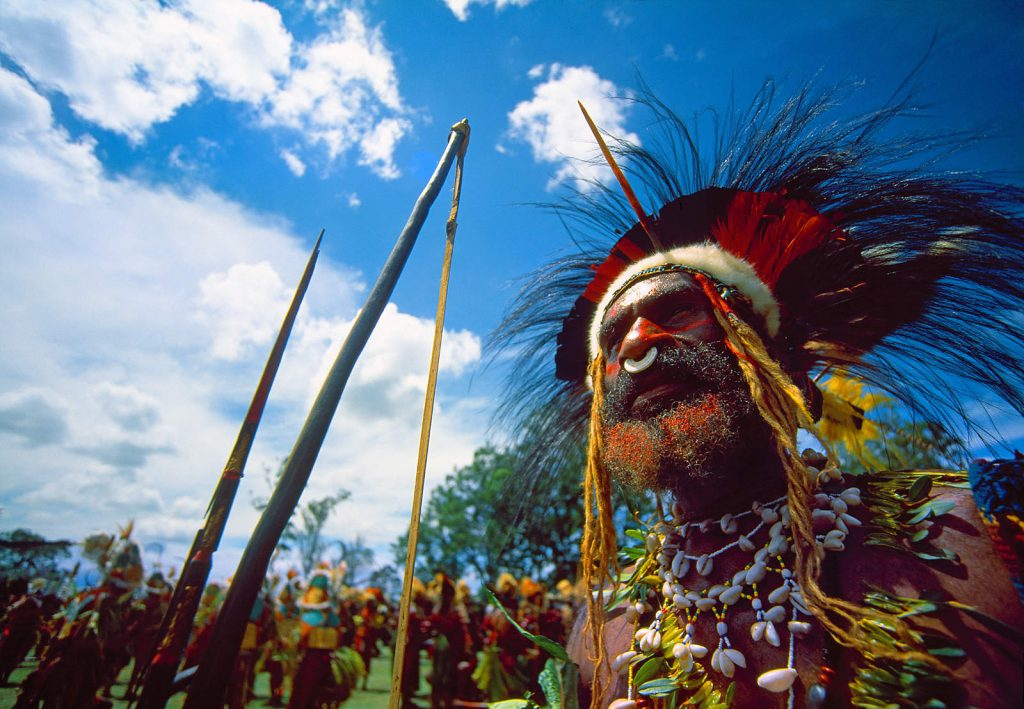 The biggest festival in PNG. Different tribes gather in Goroka on Independence Day to perform a massive sing-sing