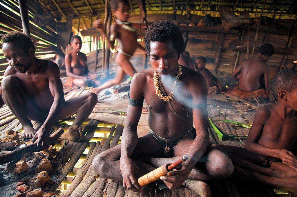 Žive u klanovima razasutim po džungli u kućama na drveću.