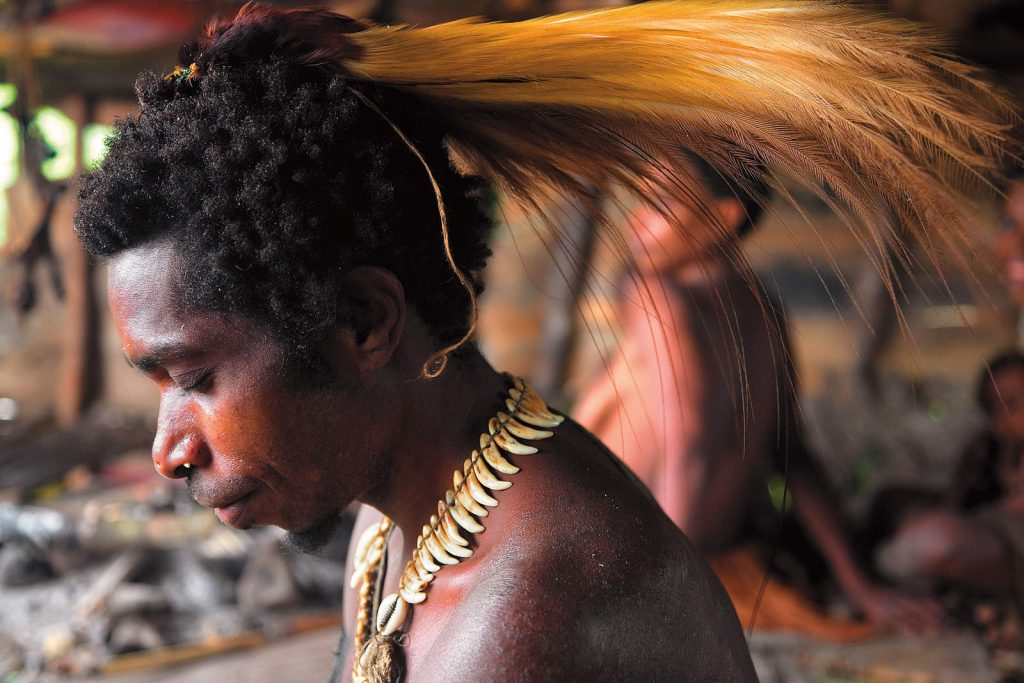 They sometimes decorate themselves with dog-tooth necklaces or bird-of-paradise feathers.